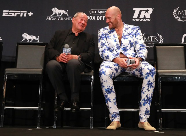 Tyson Fury post fight after Tom Schwarz Bob Arum (Picture: Mikey Williams/Top Rank)