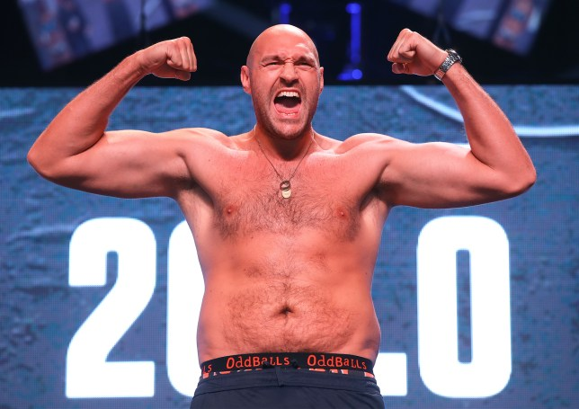 Tyson Fury at the weigh in before his next fight against tom schwarz