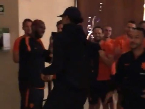 Virgil van Dijk and Georginio Wijnaldum get superb reception from Netherlands teammates after Liverpool's Champions League win