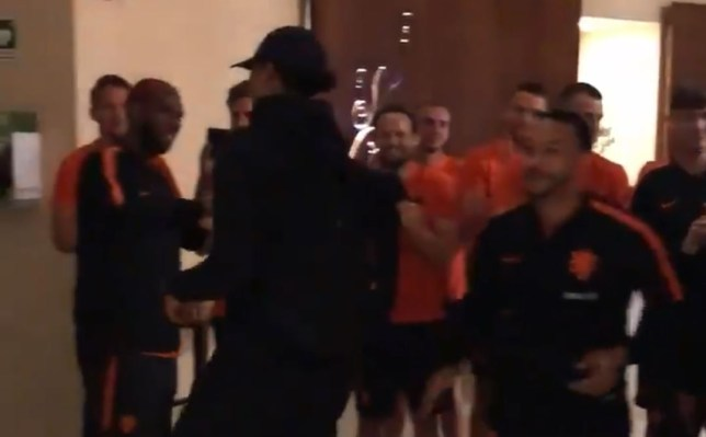 Virgil van Dijk was congratulated by Ryan Babel and Memphis Depay after Liverpool's Champions League success