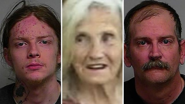 Harley Howell, left, reportedly killed Noama Ware, center, by kicking her after an argument. His father Douglas Howell, right, left the 78 year-old bedbound after kicking her during an argument about her insistence on having 30 cats living in her bedrom