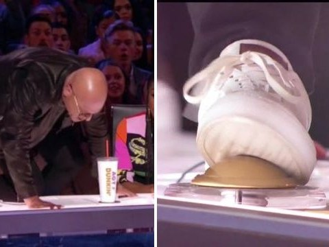 America's Got Talent: Howie Mandel climbs on the table to give sobbing singer Joseph Allen his Golden Buzzer