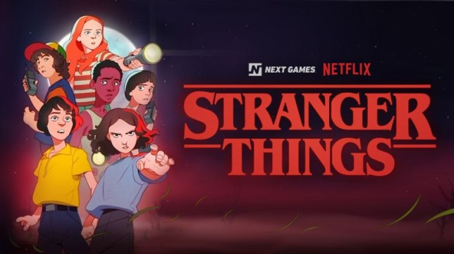 The artwork is as if the game is based on Stranger Things cartoon that never existed
