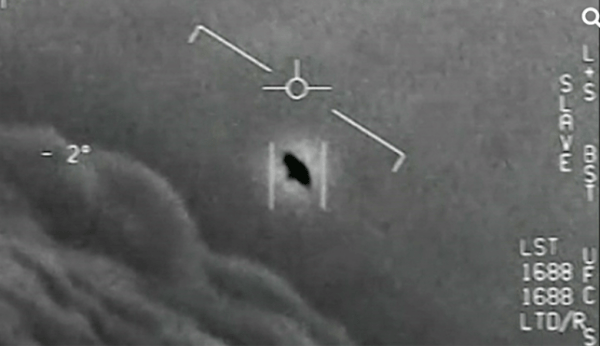 A screenshot from a US Navy pilot's video of a 'Tic Tac' UFO seen in 2004
