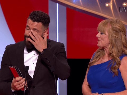 Coronation Street's Shayne Ward breaks down as he accepts British Soap Award for suicide plot