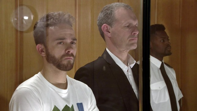 David and Nick in court in Coronation Street