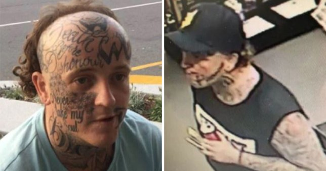 Australian police released pictures of a heavily tattooed man they want to speak to in relation to the theft of hundreds of pounds worth of sex toys