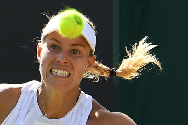 Angelique Kerber grimaces during her Wimbledon defeat