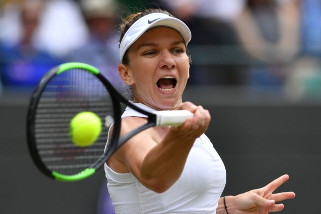 Simona Halep hits a forehand in her Wimbledon quarter-final win