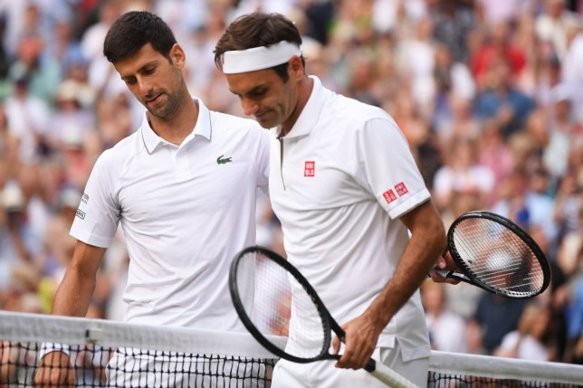 Novak Djokovic and Roger Federer embrace after the Wimbledon final