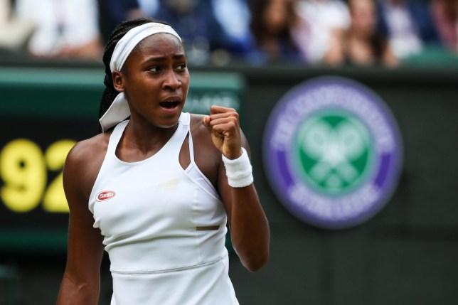 Coco Gauff celebrates winning a match at Wimbledon