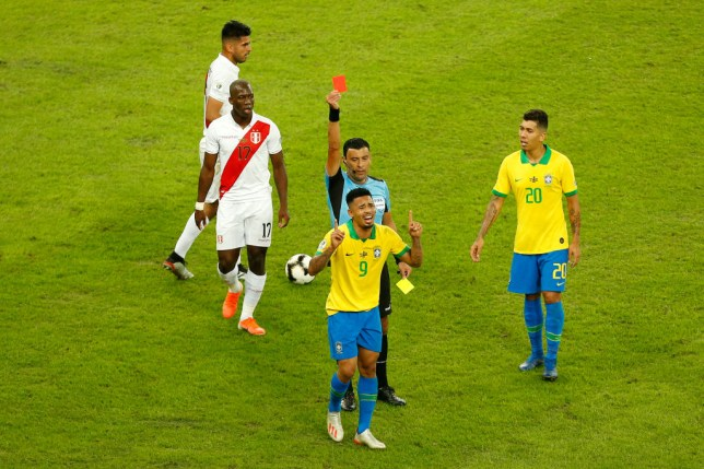 Gabriel Jesus was sent off 20 minutes from time during the Copa America final