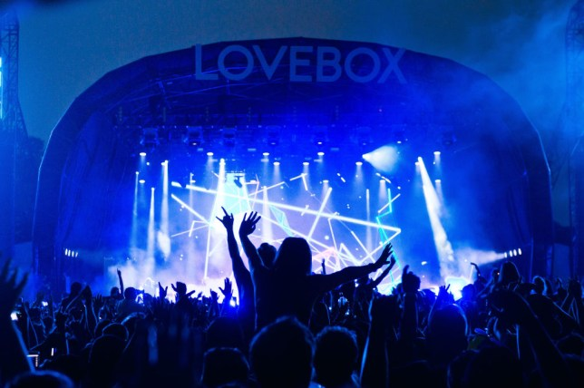 People dancing at main stage of London's Lovebox festival