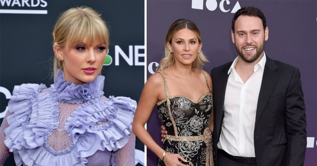 Scooter Braun with wife Yael and Taylor Swift