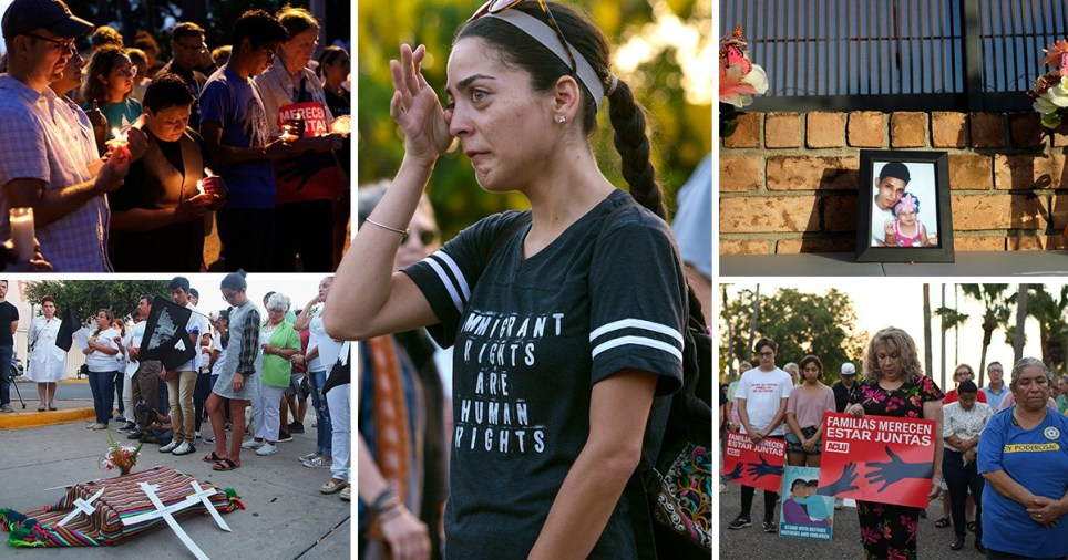 Family and friends arrived for the funeral of the father and daughter who drowned in the Rio Grande after their bodies were returned to El Salvador on Sunday