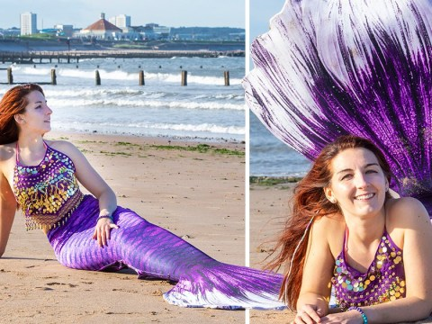 Woman who was terrified of the ocean conquers her fear to become a professional mermaid