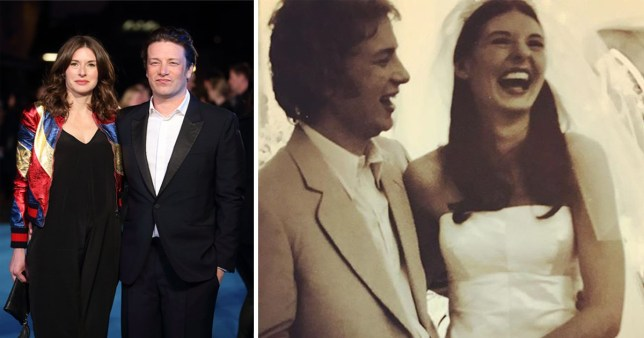 Jamie Oliver and wife Jools on red carpet and wedding day