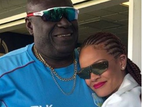 Rihanna cries during emotional reunion with school teacher at Cricket World Cup in Durham