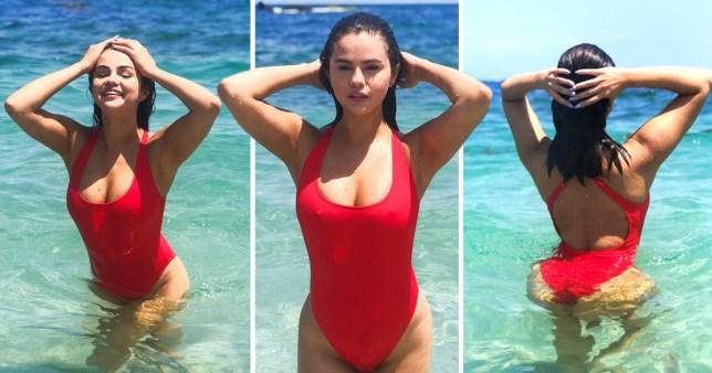 Selena Gomez in red swimsuit