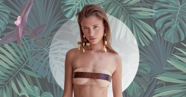 See-through bikini with a censor bar