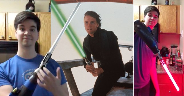 Star Wars fan Trace Wilson and Star Wars actor Mark Hammill with lightsabers