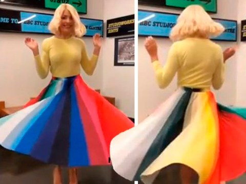 Holly Willoughby spins into Pride in dizzying rainbow skirt