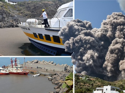 The ocean is covered in ash after Stromboli eruption