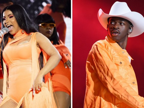 Cardi B and Lil Nas X have horses in the back as they perform Old Town Road at Wireless