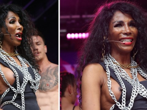 Sinitta has so much fun at London Pride her nipple popped out of her leotard