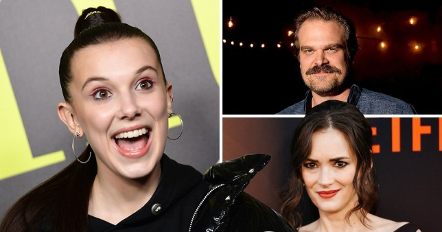 Millie Bobby Brown, David Harbour and Winona Ryder