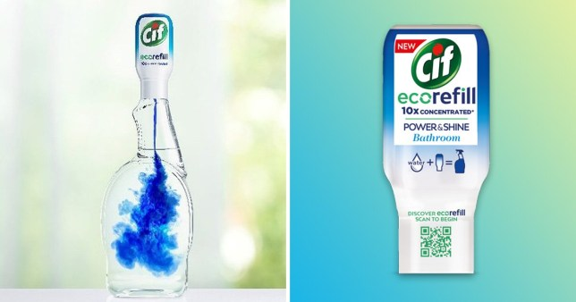 The Cif ecorefill in a bottle and the bottle you can buy in stores