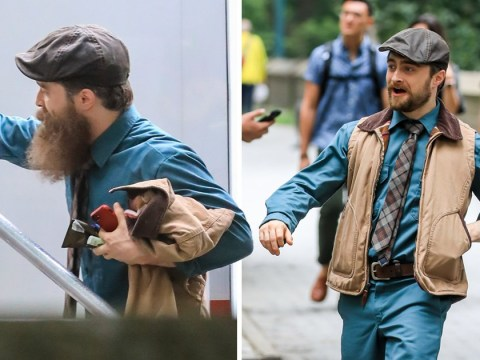 Daniel Radcliffe sports great big bushy beard as he films Unbreakable Kimmy Schmidt