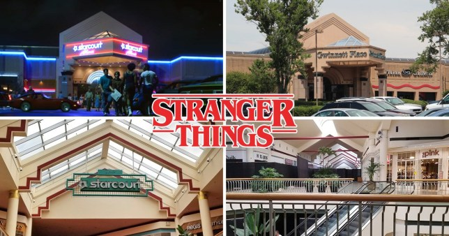 Comp of Stranger Things' Starcourt Mall and Gwinnett Place Mall in Duluth where it was filmed