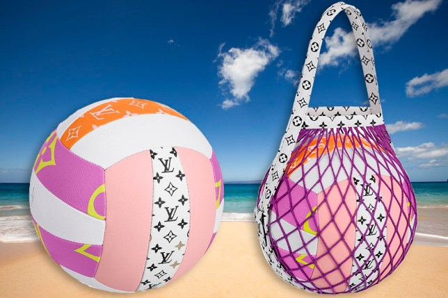 Luis Vuitton volleyball in front of Secluded beach on a sunny day.