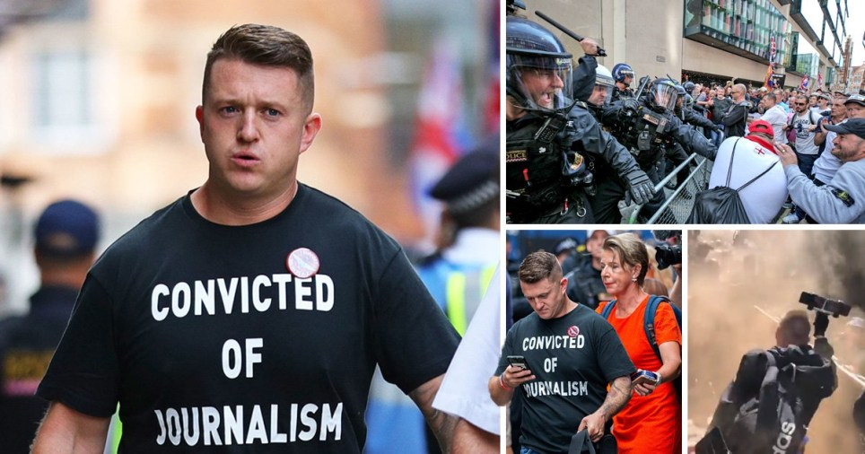 Tommy Robinson is going back to prison for contempt of court after he filmed defendants in a criminal trial (Picture: PA; Alamy Live; SWNS)