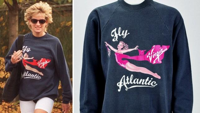 Princess Diana wearing the Virgin Atlantic gym jumper