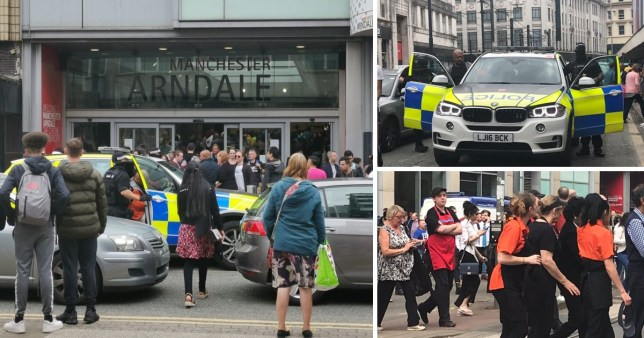 Shoppers leave the Arndale Centre after reports of a gunman on the premises
