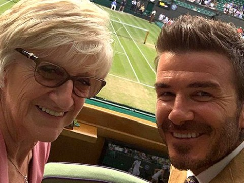 David Beckham is all smiles as he treats his mum to day out at Wimbledon