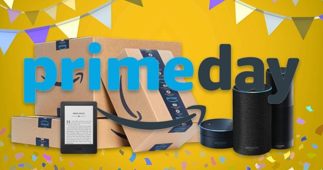 Amazon Prime Day logo with packages, Amazon Echo and a kindle