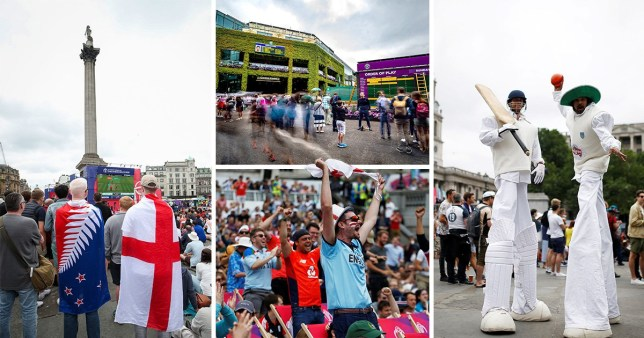 Fans have flocked to Trafalgar Square to watch the Cricket World Cup