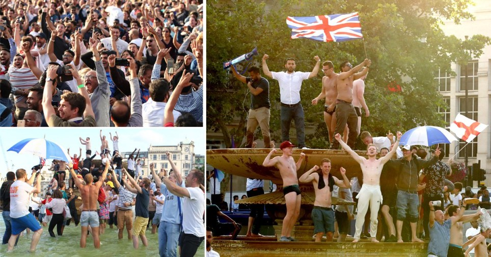 Compilation of England fans celebrating in Trafalgar Square, London after England win the Cricket World Cup for the first time