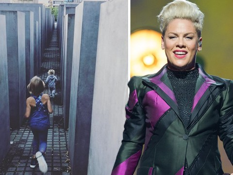 Pink fumes 'keep judgement to yourselves' as she lets her kids run around Holocaust Memorial