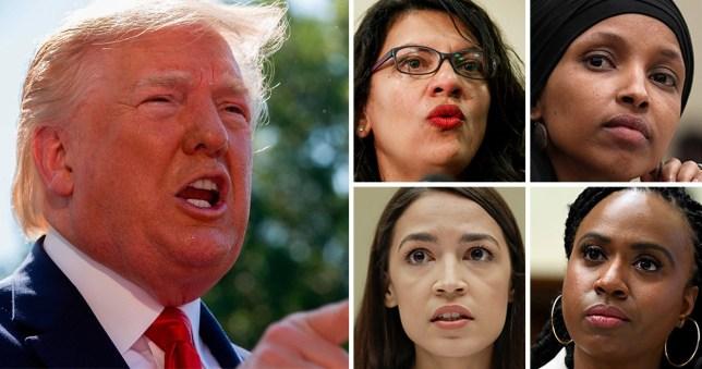 Donald Trump (left) next to four Democrat congresswomen Ilhan Omar, Alexandria Ocasio-Cortez, Ayanna Pressley and Rashida Tlaib