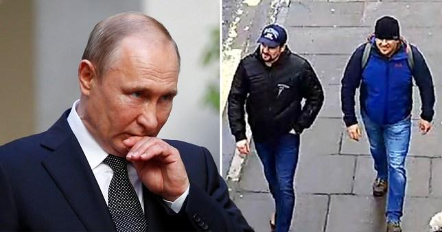 Russian President Vladimir Putin (left) next to CCTV footage of Russian agents Alexander Petrov and Ruslan Boshirov