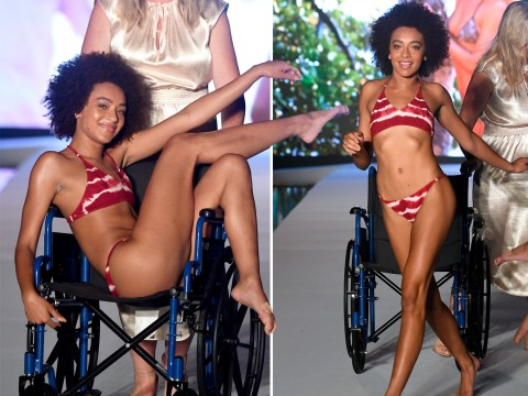 Model owns the Sports Illustrated runway in a wheelchair