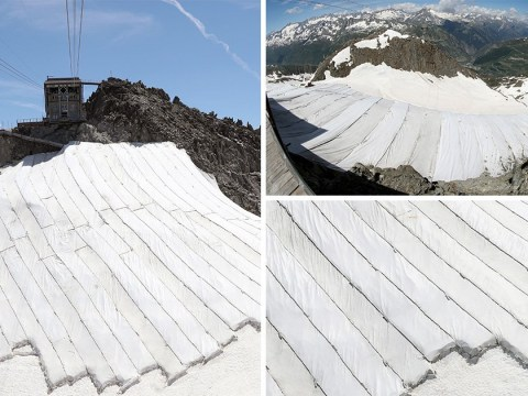 Swiss glacier covered in tarpaulin to try and stop it melting