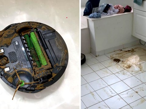 Roomba iRobot rolls into dog poo and vacuums it all over the house