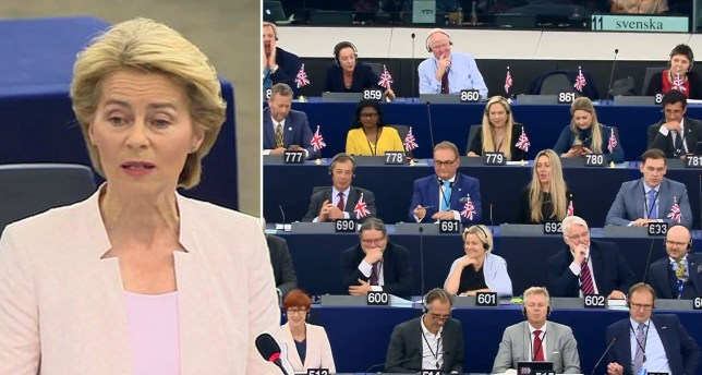 European Commission presidential nominee Ursula von der Leyen (left) next to picture of Euroskeptic MEPs in European Parliament