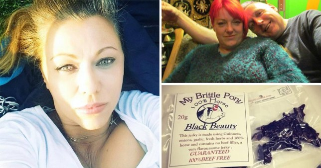 Comp of vegan activist Emma Easton (left), Martin and Suzie Cowley (top right) and a picture of black beauty horse jerky
