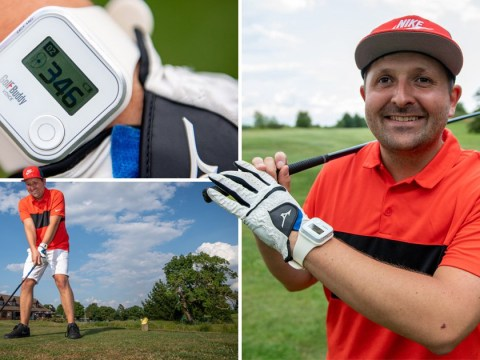 Blind golfer still enjoys sport by sound of the wind